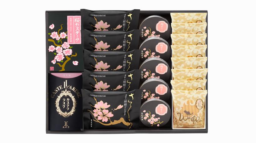 桜カステーラ・桜餡どらやき(5個入)・桜ラスク・桜ぜりぃ(5個入)・ヴァッフェル(8枚入)の詰め合わせ